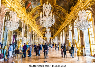 VERSAILLES, FRANCE - MAY 25 2016: The Hall of Mirrors (Galerie des Glaces) of the Royal Palace of Versailles in France. The Royal Palace of Versailles is on the UNESCO World Heritage List.
