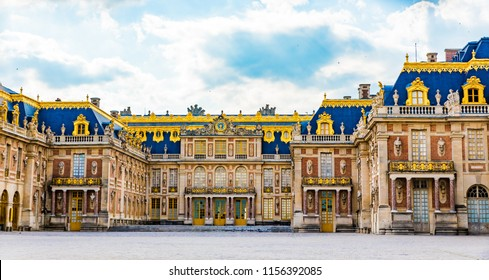 VERSAILLES, FRANCE - MAY 25, 2016: The Royal Palace of Versailles in Versailles in the Ile-de-France region of France. The Royal Palace of Versailles is on the UNESCO World Heritage List.