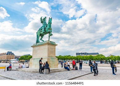 VERSAILLES, FRANCE - MAY 25, 2016: Place d'Armes in front of the Royal Palace of Versailles in France. The Royal Palace of Versailles is on the UNESCO World Heritage List.