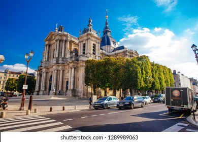 VERSAILLES, FRANCE - MAY 25 2016: Street view of Versailles in France. Versailles is renowned worldwide for its Palace of Versailles, designated UNESCO World Heritage Sites.