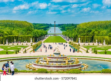 VERSAILLES, FRANCE - MAY 25, 2016: The Latona Fountain in the Garden of Versailles in France. The Garden of Versailles is on the UNESCO World Heritage List.