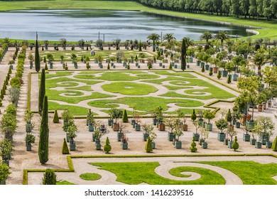 VERSAILLES, FRANCE - MAY 27, 2019: Orangerie Parterre (1684 - 1686) in Versailles palace. Palace Versailles was a royal chateau, 20 kilometres southwest of centre of Paris.