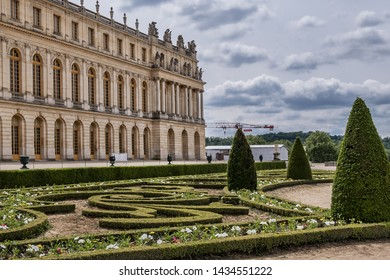VERSAILLES, FRANCE - MAY 27, 2019: Beautiful Gardens in Versailles palace. Royal Versailles palace and surrounding gardens are on the UNESCO World Heritage List.