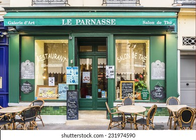 VERSAILLES, FRANCE - NOVEMBER 13, 2014: View of typical French, cozy, little restaurants and cafe near the famous Notre-Dame market.