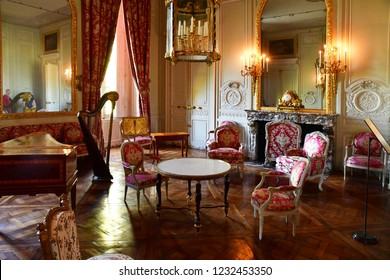 Versailles; France - october 14 2018 : drawing room in Petit Trianon in the Marie Antoinette estate in the parc of Versailles Palace