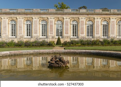 VERSAILLES, FRANCE- OCTOBER 5, 2016: A fountain at the Grand Trianon Palace.