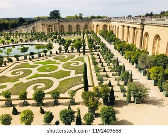 Versailles France - September 16, 2018: Versailles Gardens, Versailles Palace editorial stock photo image