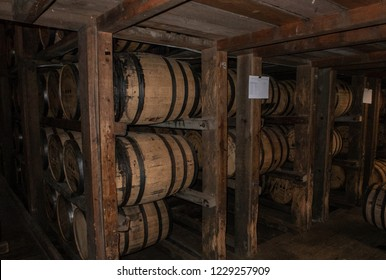 Versailles, KY / USA - 11/9/2018: Barrels of Bourbon Aging at the Woodford Reserve Distillery