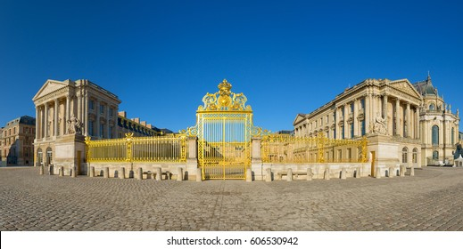 Versailles palace golden entrance,symbol of king louis XIV power, France.Panoramic view.