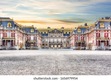 Versailles palace outside Paris at sunset, France