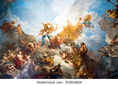 VERSAILLES PARIS, FRANCE - April 18 : Ceiling painting in Hercules room of the Royal Chateau Versailles on April 18, 2015 at the Palace of Versailles near Paris, France