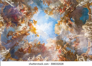 VERSAILLES PARIS, FRANCE - MAY 30: Ceiling painting in Hercules room of the Royal Chateau Versailles on May 30, 2015 at the Palace of Versailles near Paris, France