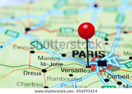 Map Of France Versailles.Versailles Pinned On Map France Stock Photo Edit Now 456995614