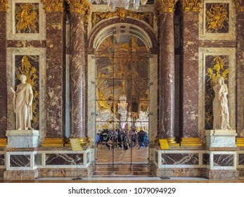 Versailles/France - April 5, 2018: Versailles Hall of MIrrors