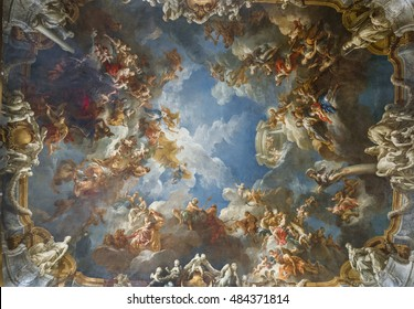 VERSAILLES,FRANCE-JUNE 2016: The Apotheosis of Hercules by Francois Lemoyne - dazzling ceilings of Versailles