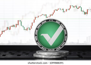 VERTcoin (VTC) cryptocurrency; vertcoin on the background of the chart