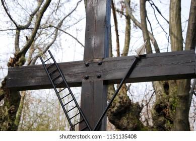 Vertemate con Minoprio, Como, Lombardy / Italy - March 18 2017: Cross of the Cock.