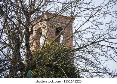Vertemate con Minoprio, Como, Lombardy / Italy - March 18 2017: Bell tower.