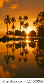 VERTICAL, AERIAL: Beautiful orange setting sun shining on palm trees and small lake overlooking the tropical beach in French Polynesia.