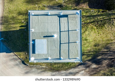 Vertical aerial photograph of a former watchtower at the inner-German border between the Federal Republic of Germany and the German Democratic Republic., drone flight