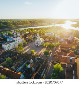 A vertical aerial shot of the Town Hall of Kaunas in Lithuania