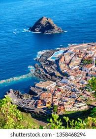 Vertical aerial view of Garachico village on the coast of Atlantic ocean in Tenerife island of Spain