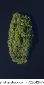 Vertical aerial view of an Island in lake erne lough Fermanagh Northern Ireland.