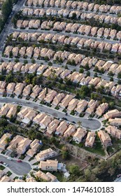 Vertical aerial view of suburban Stevenson Ranch homes and cul-de-sac streets in Los Angeles County, California.