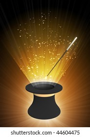 Vertical background of brown color with magic top hat