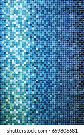 Vertical background of little blue ceramic square tiles