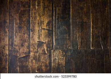 vertical Barn Wooden Wall Planking Texture. Reclaimed Old Wood Slats Rustic shabby Background. Home Interior Design Element In Modern Vintage Style. Hardwood Dark Brown Timbered Structure. Close Up