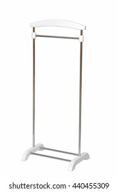 vertical bedside hanger for shirts on wheels on a white background