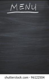 vertical black chalkboard with handwritten MENU word