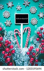 Vertical Black Christmas Sign,Lights, Adventszeit Means Advent Season