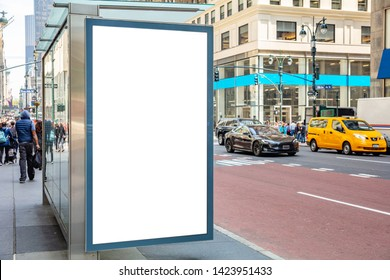 Vertical blank white billboard mockup for advertising, Bus stop at New York city buildings and street background