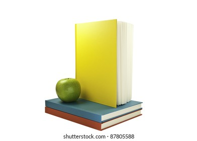 Vertical book on top of two flat colored books.This has a clipping path.