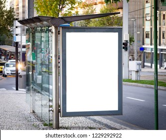 Vertical Bus Stop Advertisement Mockup. Street, Day. Copy Space.
