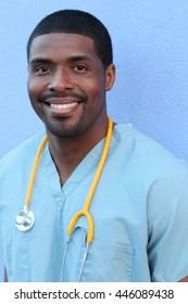 Vertical closeup head shot portrait of confident healthcare professional