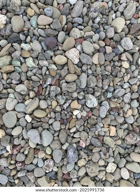 a vertical closeup view of pebble stone rocks along water ocean sea shore path