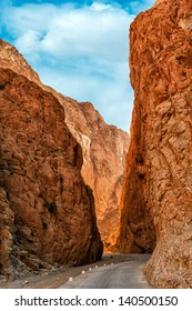 vertical color image of Todra gorge in  Morocco