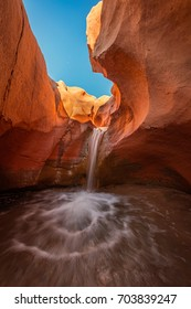 Vertical desert waterfall near Escalante, Utah, USA.