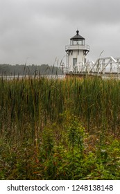 Vertical Doubling Point Lighthouse Cattails in Foreground - Arrowsic Island, Kennebec River, Maine, USA