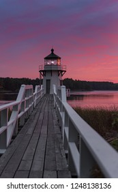 Vertical Doubling Point Lighthouse Walkway Sunset - Arrowsic Island, Kennebec River, Maine, USA