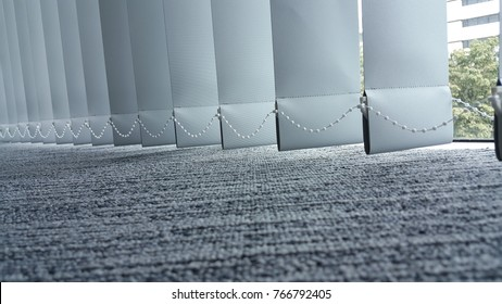 vertical fabric blinds isolated on a white background