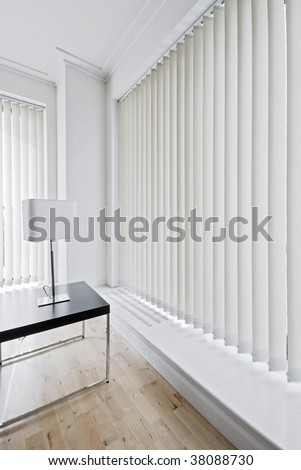 Vertical Fabric Blinds On Floor Ceiling Stock Photo Edit