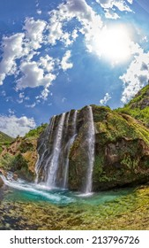 Vertical fisheye shot of waterfall Krcic flows into the river Krka in Knin.