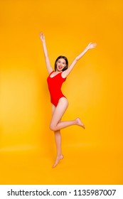 Vertical full size photo portrait of win winner triumphant cheerful joy fun funny funky fancy beautiful pretty lovely cool lady waving hands isolated bright shiny vivid background