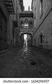 A vertical greyscale shot of the famous Carrer del Bisbe in Barcelona, Spain