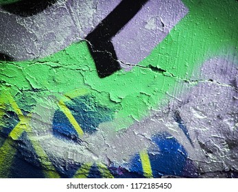 Vertical and horizontal colorful stripes. light steel blue, iris and forest green aerosol paint splashes. Details of wall drawing.