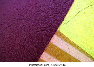 Vertical and horizontal colorful stripes. midnight, plum and goldenrod aerosol paint splashes. Details of wall drawing.